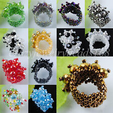 Free shipping Jewelry Crystal Faceted Beads Stretch Finger Ring US 6~10 BJ004