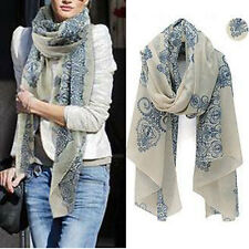 Women Flower Embroidered Lace Neck Scarf Long Soft Wrap Shawl Stole Pashmina Hot