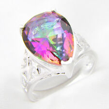 Drop Water Style Rainbow Mystic Fire Topaz Gems Silver Woman Ring Size 7 8 9