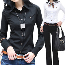 Womens Office Long Sleeve Blouse Ladies Casual Vintage shirt Cotton Top Size