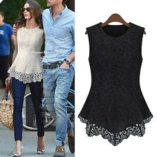 womens ladies Peplum blouse Fashion Sleeveless shirt Lace Vest Top Size 6-16