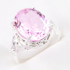 Hot Sale Romantic Sweet Pink Topaz Gems Solid Silver Woman Ring US Size 7 8 9