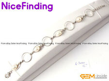 Fashion Rice Freshwater Pearl Chain Link Bracelet Silver Adjustable Jewelry Gift