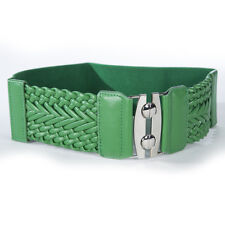 """S44 - GREEN 3"""" WIDE BRAIDED LEATHER & STRETCH MATERIAL LADIES BELT, ONE SIZE"""