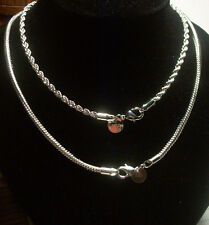 ROPE OR SNAKE NECKLACE CHAIN STERLING SILVER PLATED 18 24 30 inch / 2 3 4 mm