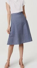Ann Taylor LOFT Cotton Swingy Eyelet Skirt Size 6, 10 NWT Blue Color