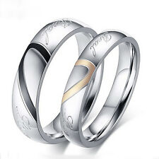 Women Men Love Heart Promise Band Ring for Lover Couple Wedding Jewelry Hot Cool