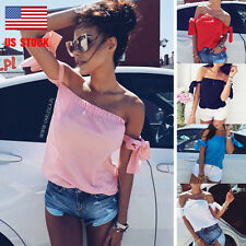 Women Lady Off Shoulder Wrap Strappy Backless Lace Up Casual Tops Blouse T-shirt