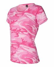 PINK CAMO CAMOUFLAGE LADIES CUT QUALITY T-SHIRT