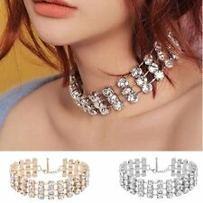 Shiny Rhinestone Choker Clavicle Chain Bride Wedding Necklet Crystal Necklace