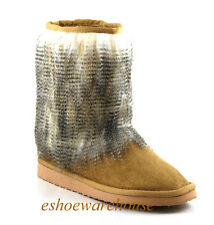 Camel Tan Awesome Urban Style Faux Fur Skirt Low Mid Calf Comfy Ankle Boots