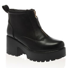 28P WOMENS CHUNKY CLEATED PLATFORM LADIES ZIP UP BLOCK HEEL ANKLE BOOTS SIZE 3-8