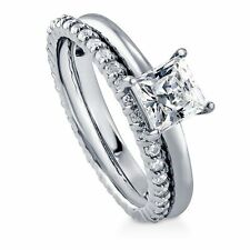 Sterling Silver 1.55 ct.tw Princess Cubic Zirconia CZ Solitaire Engagement Wedd