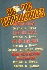 BBQ Barbeque Rules Drink Beer Order Pizza Big Dogs Denim Blue Tee Shirt 2X 6X