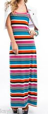 Pink/Turquoise Multi Rainbow Stripe Racerback Sleeveless Tank Long Maxi Dress