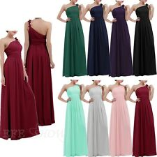 Chiffon Women Flowers One Shoulder Bridesmaid Maxi Evening Party Gown Long Dress