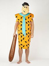 BNWT Adult Fred Flintstone Fancy Dress Costume Large With Mask & Club