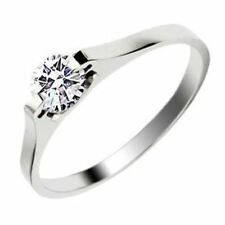 Crystal Women 18k White Gold Plated Solitaire Wedding ring