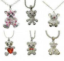 Ladies Silver Teddy Bear Necklace Pendant Chain Heart Crystal Animal Jewellery