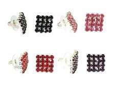 Red Pink Purple Black Silver Square Rhinestone Crystal Diamante Stud Earrings