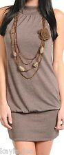 Taupe Sleeveless Sweater Dress Mini w/ Removable Necklace & Floral Brooch S/M/L