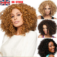 UK Stock Women Natural Short Wavy Curly Cosplay Party Casual Afro Full Wigs Hair