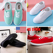 Women Flats Slip On Sports Running Lace Up Casual Canvas Shoes Loafers Sneakers