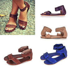 Women's Ladies Gladiator Hollow Elegant Ankle Strap Peep-Toe Flat Sandals Shoes