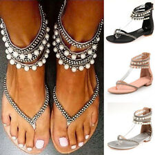 Women Ladies Boho Pearl Bohemia Ankle Strap Flat Sandals Beach Flip Flops Shoes