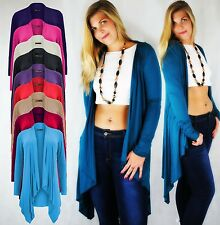 LADIES OPEN DRAPE WATERFALL CARDIGAN STRETCH JERSEY STYLE LONG FRONT CLASSIC