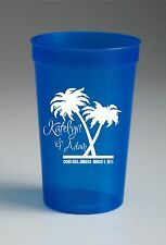 16 oz. Custom Stadium Cups Plastic Personalized, Beer wedding party favors beach
