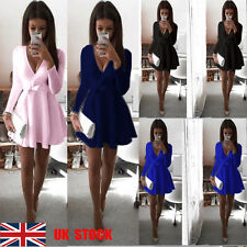 UK Women Deep V Front Bow Tie Formal Casual Long Sleeve Short Mini Puff Dress