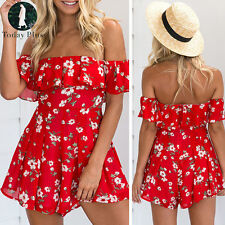 Womens Ladies Summer Holiday Off Shoulder Playsuit Shorts Jumpsuit Beach Romper