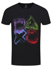 Playstation Sketched Controller Buttons Men's Black T-Shirt
