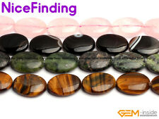 "Natural 18X25mm Oval Gemstone Beads For Jewelry Making Strand 15"" Assorted Stone"
