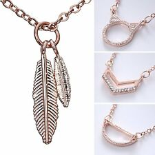 Charm Rose Gold Plated Crystal Rhinestone Feather Pendant Necklace Jewelry Gift
