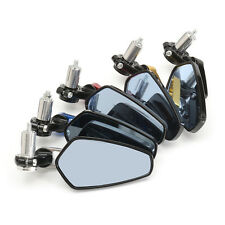 """Universal Motorcycle 7/8"""" 22mm Handle Bar End Rear View Side Mirrors Aluminum"""
