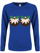A Nice Pair Of Christmas Puds! Christmas Jumper Women's Blue Sweater