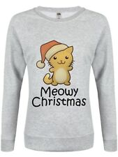 Meowy Christmas Heather Christmas Jumper Women's Grey Sweater
