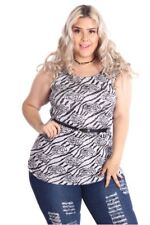 121AVENUE Gorgeous Printed Top 1X Women Plus Size Gray Casual Short Sleeve