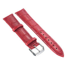 Unisex Red Genuine Leather Alligator Crocodile Grain Watch Strap Band Mens Women