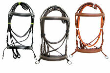New Leather Cross Over Bitless Bridles with Reins Bridle English