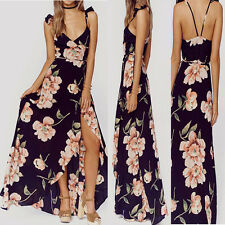 Women Chiffon Spaghetti Strap Floral Backless Cocktail Party Long  Maxi Dress