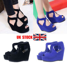 UK Women Platform Wedge High Heel Fish Mouth Clubwear Party Sandals Shoes Size