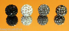 Rhinestone Clay Discoball Bead 10mm- multiple colours Crystal  Shamballa Beads