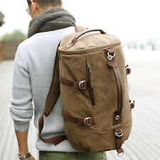 Outdoor Men's Canvas Leather Hiking Travel Military Messenger Tote Bag Backpack