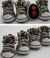 Pet Cat Dog Puppy Leopard Shoes Cozy Shoelaces Cloth Boots For Small & Big Dog