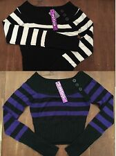 White or Purple Black Stripe Cropped Long Sleeve Boatneck Pullover Sweater Top