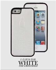 PU LEATHER CROCODILE SKIN STYLE COVER CASE for iPHONE 5 6 7 PLUS WHITE