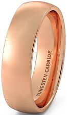 Mens Wedding Band 6mm Rose Gold Polished Tungsten Ring Dome Comfort Fit